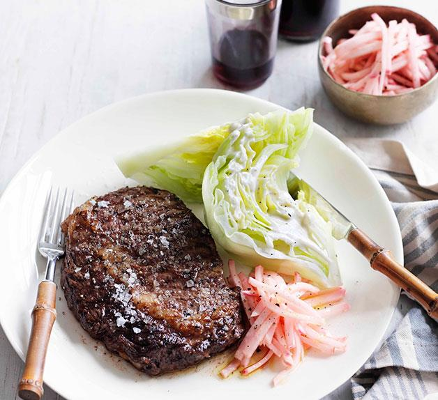 Char-grilled Scotch fillet with pickled kohlrabi and Roquefort dressing