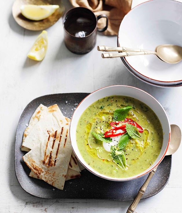Zucchini and mint soup with grilled flatbread