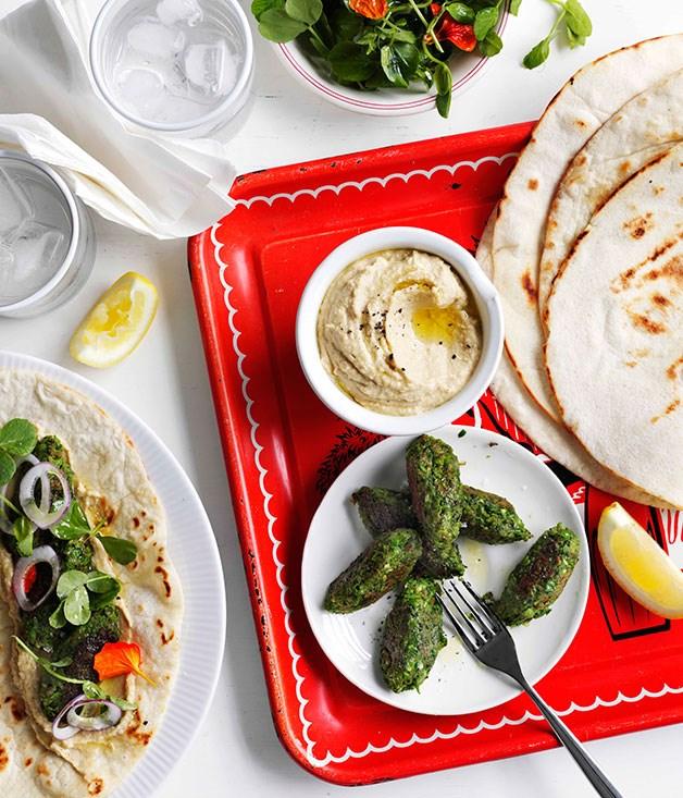 Pea falafel with hummus and flatbread