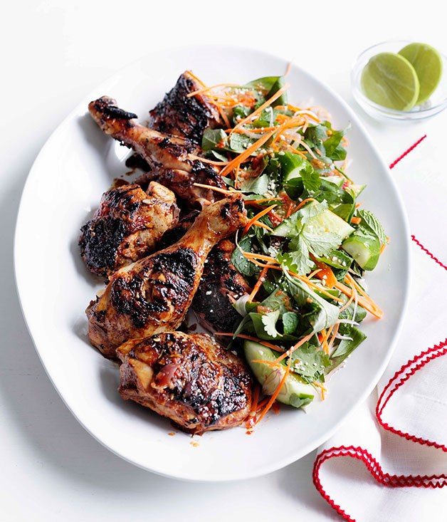 Grilled chicken with cucumber, carrot and Asian herb salad