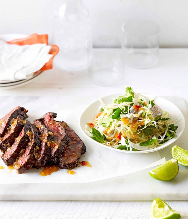 **Char-grilled skirt steak with Asian cabbage slaw**