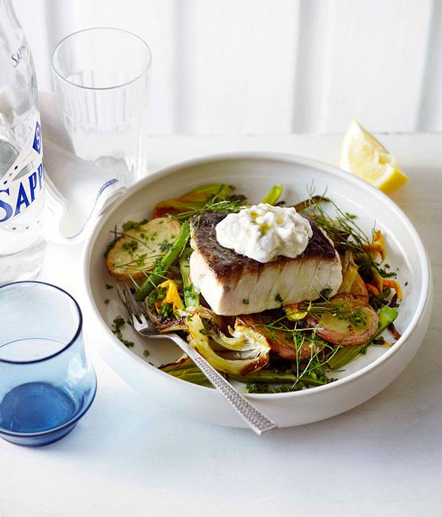 **Blue-eye trevalla with skordalia, lemon, potatoes and fennel**