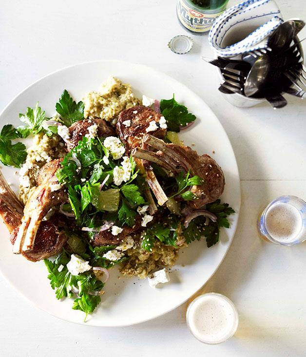 **Lamb cutlets with eggplant purée and parsley and lemon salad**