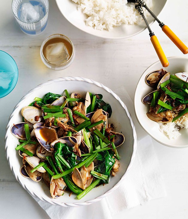 XO pipis with Chinese broccoli