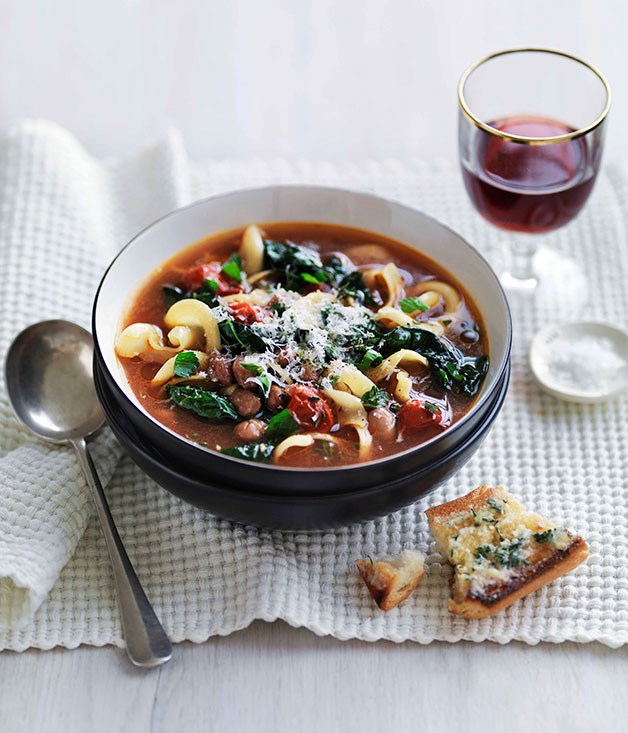 "[**Bean, cavolo nero and pasta soup**](https://www.gourmettraveller.com.au/recipes/fast-recipes/bean-cavolo-nero-and-pasta-soup-13223|target=""_blank"")"