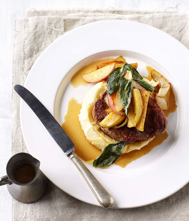 "**[Pork with cider and apples](https://www.gourmettraveller.com.au/recipes/fast-recipes/pork-with-cider-and-apples-13230|target=""_blank"")**"