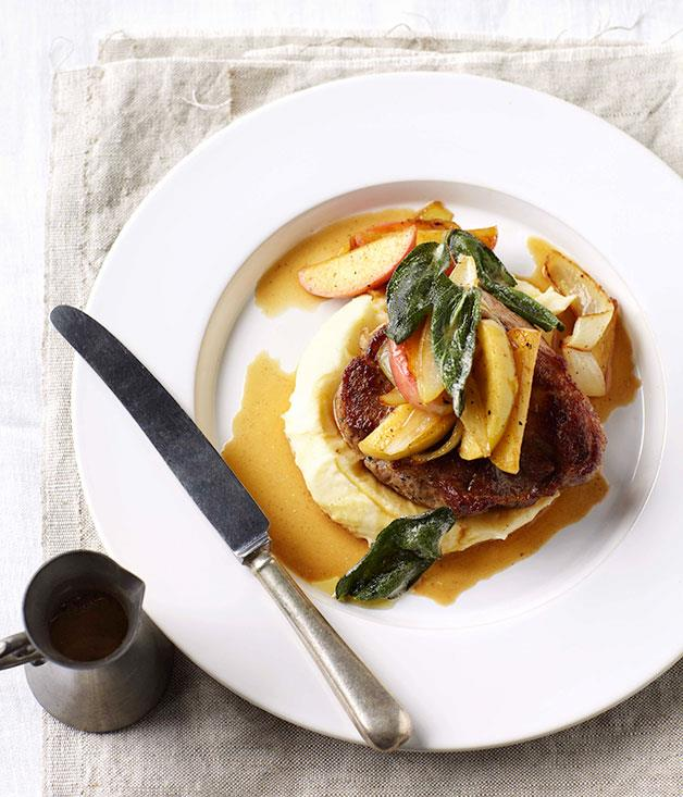 """**[Pork with cider and apples](https://www.gourmettraveller.com.au/recipes/fast-recipes/pork-with-cider-and-apples-13230