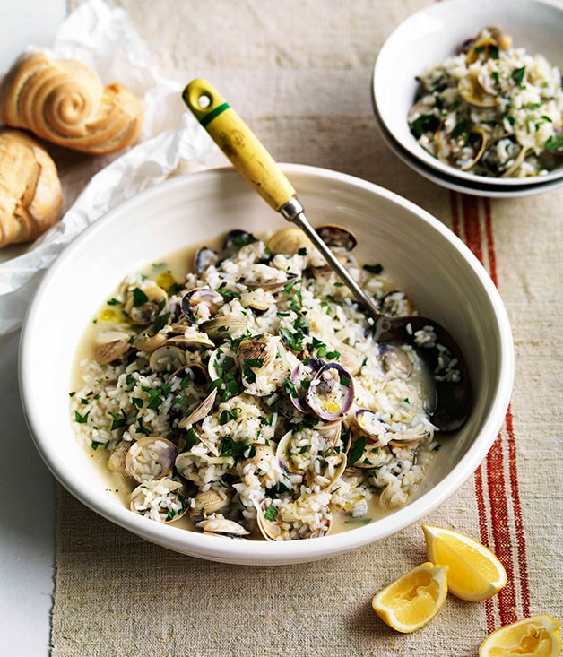 "[**Genovese vongole with rice**](https://www.gourmettraveller.com.au/recipes/fast-recipes/genovese-vongole-with-rice-13239|target=""_blank"") <br><br> The perfect hearty seafood dish for Autumn that's simple and quick."