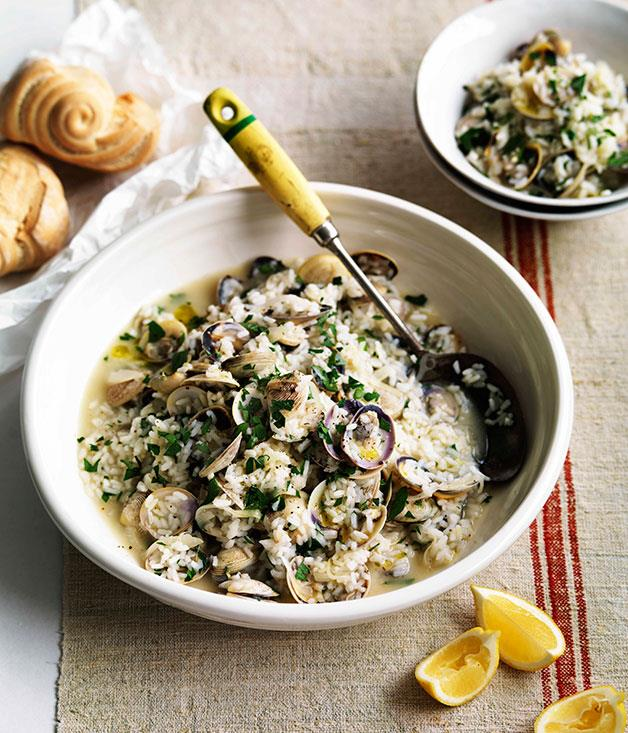 """**[Genovese vongole with rice](http://www.gourmettraveller.com.au/genovese-vongole-with-rice.htm