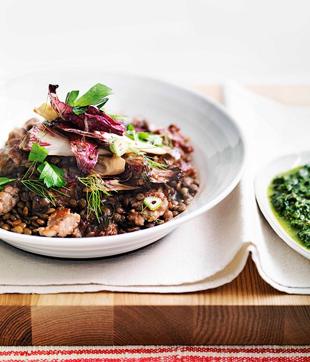 "[**Sausage, lentils and radicchio with salsa verde**](https://www.gourmettraveller.com.au/recipes/fast-recipes/sausage-lentils-and-radicchio-with-salsa-verde-13242|target=""_blank"") <br><br> The humble lentil forms the backbone of this hearty meal."