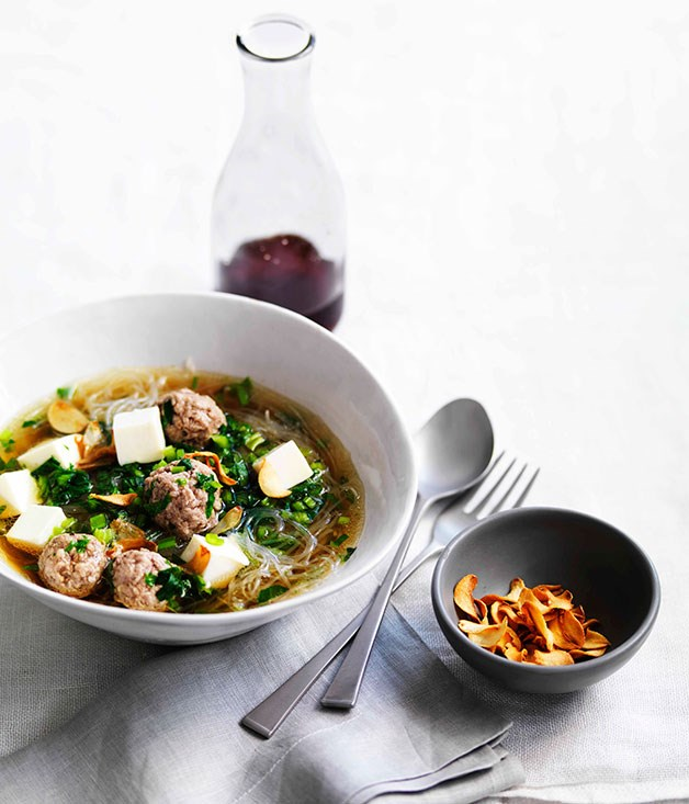 "[**Chinese celery and pork soup with cellophane noodles**](https://www.gourmettraveller.com.au/recipes/fast-recipes/chinese-celery-and-pork-soup-with-cellophane-noodles-13246|target=""_blank"") <br><br> A hearty warm broth that's quick and easy to make is the perfect Autumn meal."