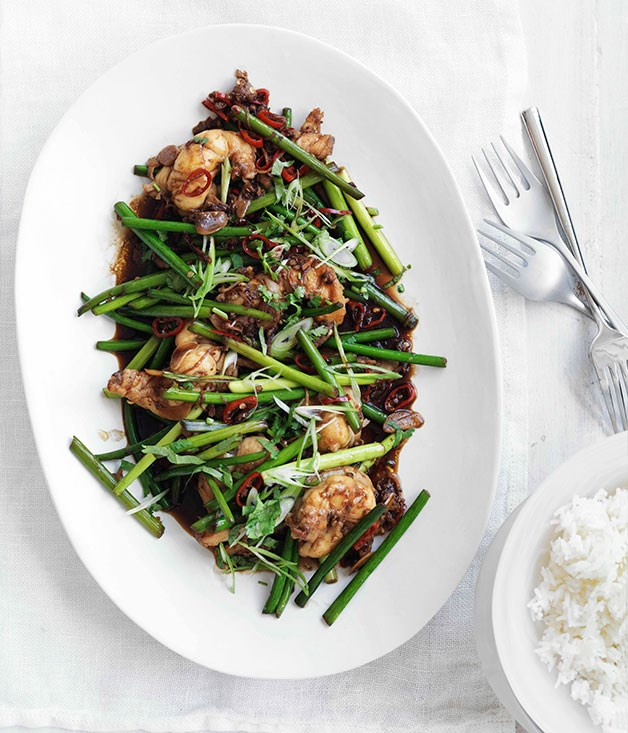 Stir-fried lobster with Sichuan pepper and garlic stems