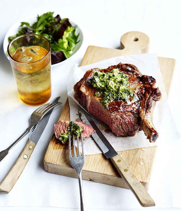 Grilled rib-eye with anchovy and caper butter