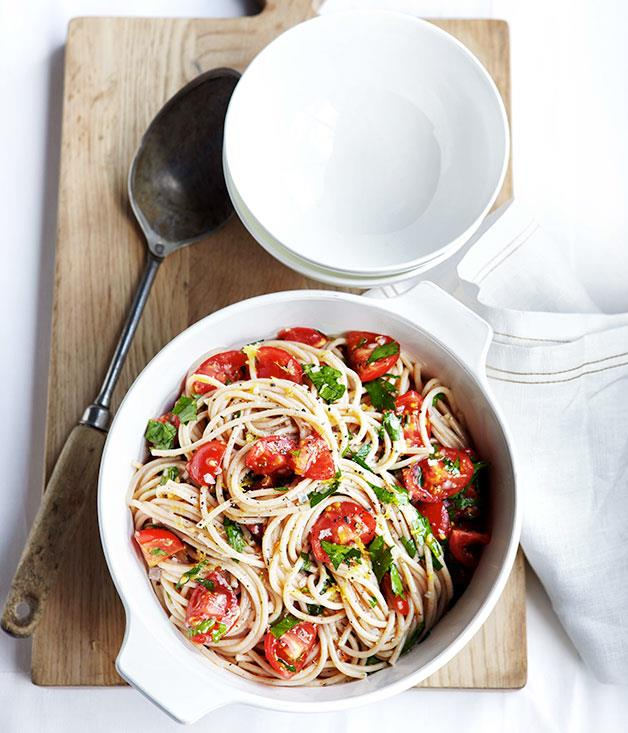 "[**Buckwheat spaghetti with tomato, lemon and flat-leaf parsley**](https://www.gourmettraveller.com.au/recipes/fast-recipes/buckwheat-spaghetti-with-tomato-lemon-and-flat-leaf-parsley-13251|target=""_blank"")"