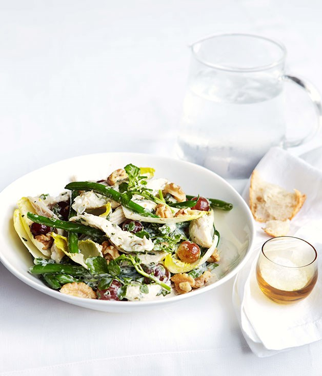 "[**Poached chicken, green bean and basil mayonnaise salad**](https://www.gourmettraveller.com.au/recipes/fast-recipes/poached-chicken-green-bean-and-basil-mayonnaise-salad-13252|target=""_blank"")"