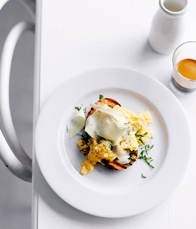 **Eggs on toast with Asiago** **Eggs on toast with Asiago**    [View Recipe](http://gourmettraveller.com.au/eggs-on-toast-with-asiago.htm)     PHOTOGRAPH **BEN DEARNLEY**