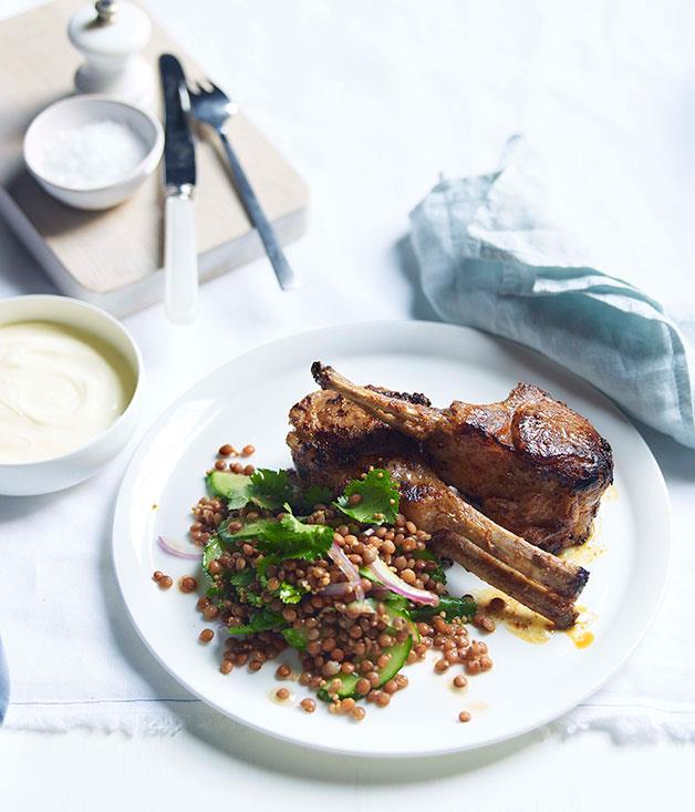 **Tandoori-style lamb with red lentils, coriander and cucumber** **Tandoori-style lamb with red lentils, coriander and cucumber**    [View Recipe](http://gourmettraveller.com.au/tandoori-style-lamb-with-red-lentils-coriander-and-cucumber.htm)     PHOTOGRAPH **DEAN WILMOT**