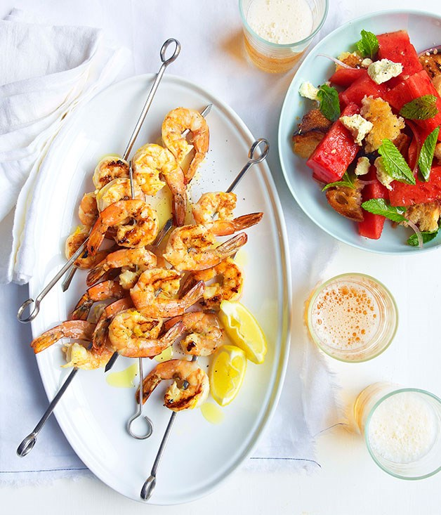 **Char-grilled prawns with watermelon, feta and torn bread** **Char-grilled prawns with watermelon, feta and torn bread**    [View Recipe](http://gourmettraveller.com.au/char-grilled-prawns-with-watermelon-feta-and-torn-bread.htm)     PHOTOGRAPH **DEAN WILMOT**