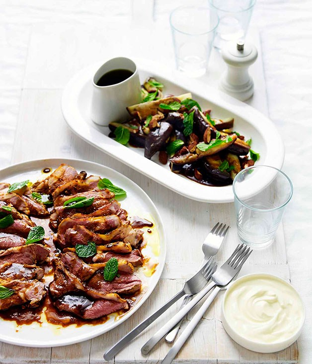 Sweet and sour eggplant with roast almonds and spice-rubbed lamb
