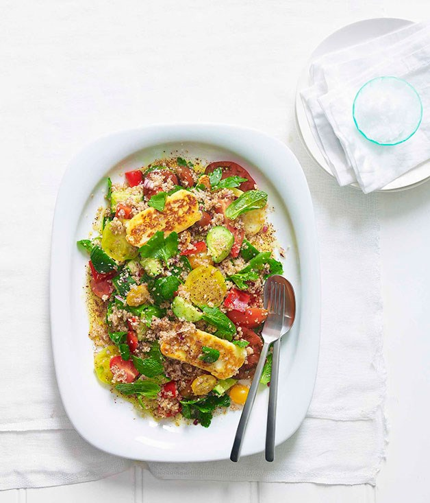**Haloumi and crushed wheat salad** **Haloumi and crushed wheat salad**    [View Recipe](http://gourmettraveller.com.au/haloumi-and-crushed-wheat-salad.htm)     PHOTOGRAPH **DEAN WILMOT**