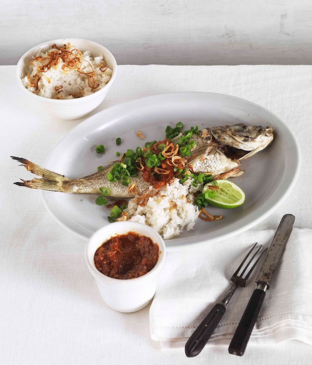 **Roast bream with sambal and coconut rice**
