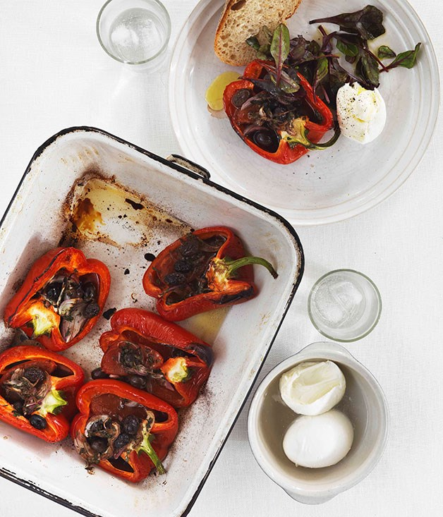 Roast capsicum with tomato, garlic and olives