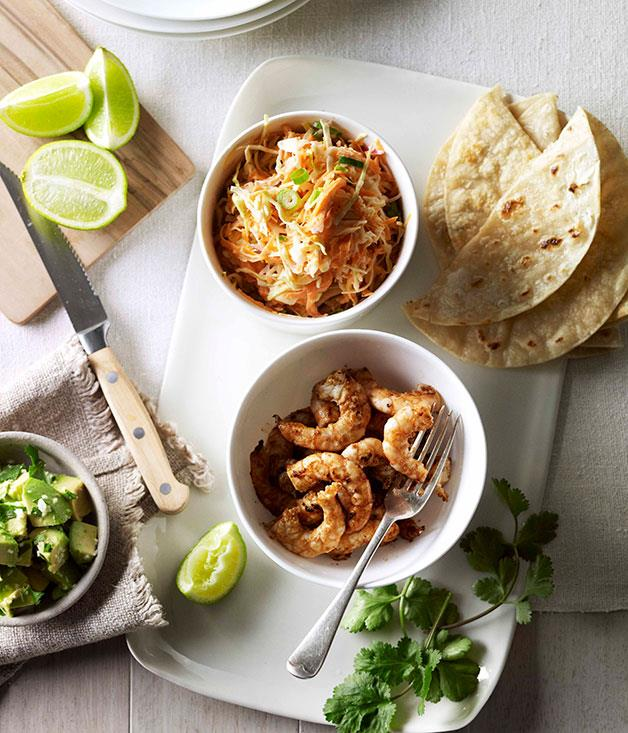 """[**Soft prawn tacos with coleslaw, avocado and coriander**](https://www.gourmettraveller.com.au/recipes/fast-recipes/soft-prawn-tacos-with-coleslaw-avocado-and-coriander-13149