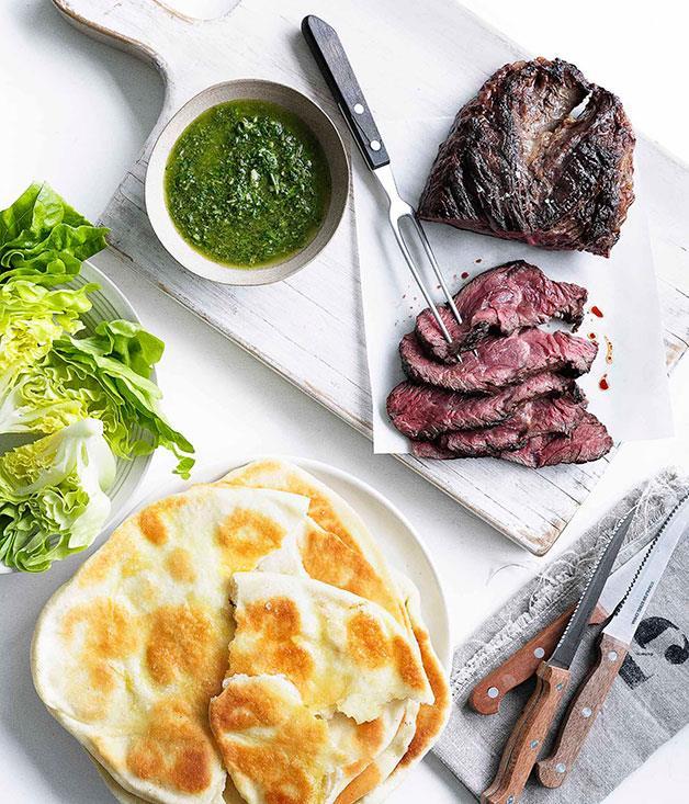 **Hanger steak with chimichurri and yoghurt flatbread**