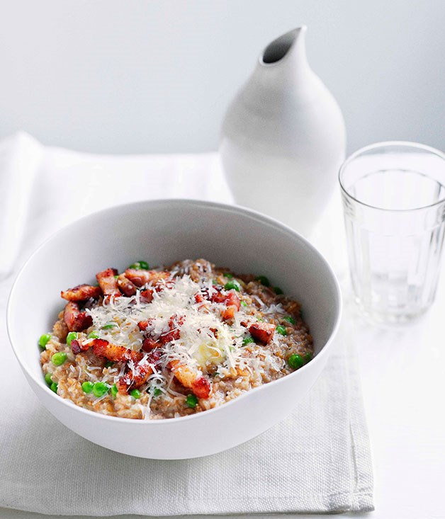 **Farro with pancetta, peas and mascarpone**