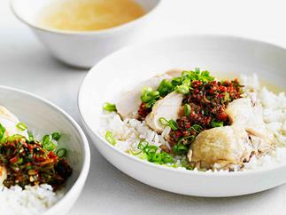Chinese chicken with soupy rice, ginger and spring onion dressing