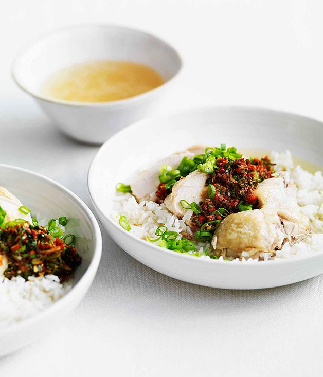"**[Chinese white cut chicken with soupy rice, ginger and spring onion dressing](https://www.gourmettraveller.com.au/recipes/fast-recipes/chinese-chicken-with-soupy-rice-ginger-and-spring-onion-dressing-13158|target=""_blank"")**"