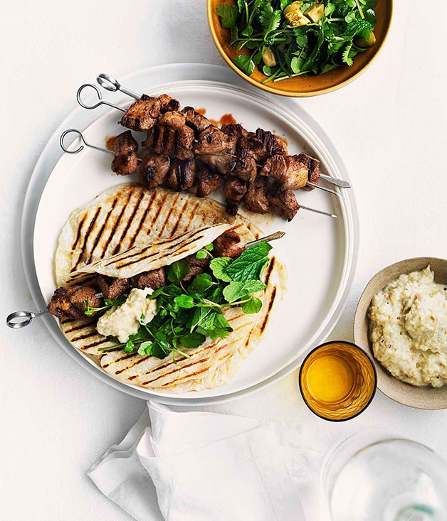 **Grilled cumin and chilli lamb skewers with smoky eggplant purée**