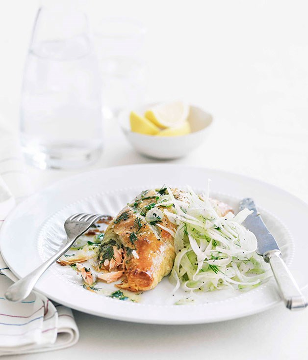 "[**Herbed ocean trout en croûte**](https://www.gourmettraveller.com.au/recipes/fast-recipes/herbed-ocean-trout-en-croute-13165|target=""_blank"")"