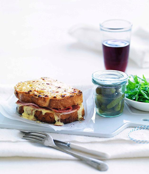 "**[Croque-monsieur](https://www.gourmettraveller.com.au/recipes/fast-recipes/croque-monsieur-13170|target=""_blank"")**"