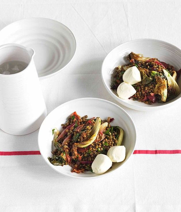 **Lentils with wilted radicchio, olives and balsamic vinegar** **Lentils with wilted radicchio, olives and balsamic vinegar**    [View Recipe](http://gourmettraveller.com.au/lentils-with-wilted-radicchio-olives-and-balsamic-vinegar.htm)     PHOTOGRAPH **JASON LOUCAS**