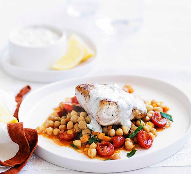 Spiced blue-eye with chickpeas and minted yoghurt