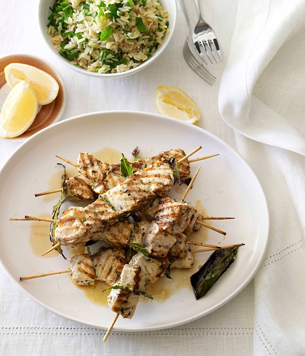 **Swordfish souvlaki with lemon and herb pilaf** **Swordfish souvlaki with lemon and herb pilaf**    [View Recipe](http://gourmettraveller.com.au/swordfish-souvlaki-with-lemon-and-herb-pilaf.htm)     PHOTOGRAPH **CHRIS CHEN**