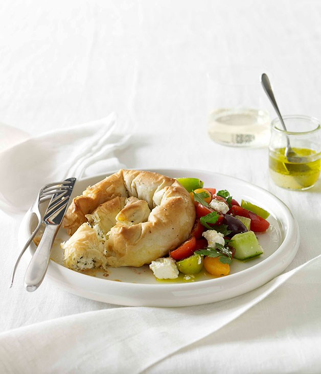**Haloumi, feta and mint boureki with Greek salad** **Haloumi, feta and mint boureki with Greek salad**    [View Recipe](http://gourmettraveller.com.au/haloumi-feta-and-mint-boureki-with-greek-salad.htm)     PHOTOGRAPH **CHRIS CHEN**