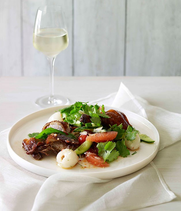 "[**Roast duck salad with pomelo and lychee**](https://www.gourmettraveller.com.au/recipes/fast-recipes/roast-duck-salad-with-pomelo-and-lychee-13196|target=""_blank"") <br><br> Give your salad game a dash of glam with this Asian number that pairs pomelos and lychees with a fiery chilli dressing."