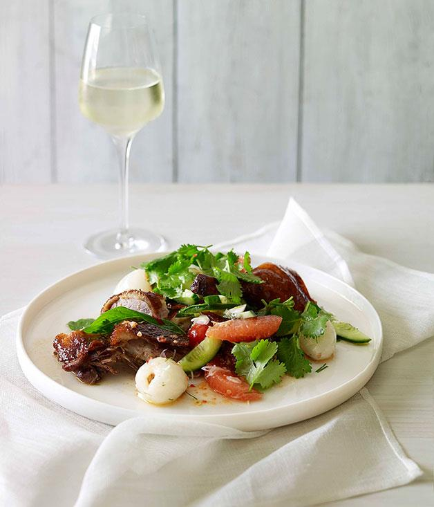 """[**Roast duck salad with pomelo and lychee**](https://www.gourmettraveller.com.au/recipes/fast-recipes/roast-duck-salad-with-pomelo-and-lychee-13196