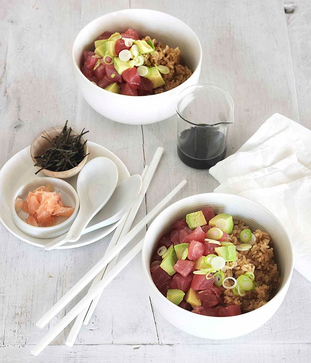 **Yellowfin tuna and avocado donburi** **Yellowfin tuna and avocado donburi**    [View Recipe](http://gourmettraveller.com.au/yellowfin-tuna-and-avocado-donburi.htm)     PHOTOGRAPH **JASON LOUCAS**