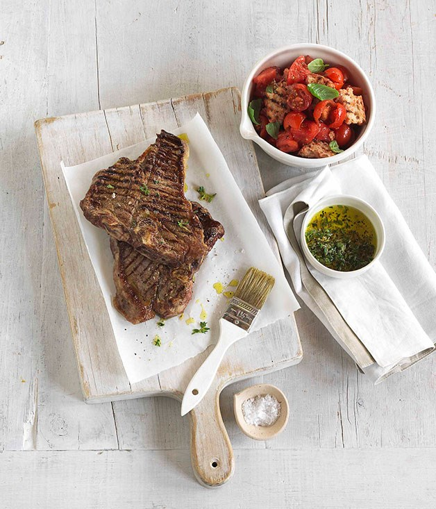 **Char-grilled beef T-bone with crushed tomato and bread salad** **Char-grilled beef T-bone with crushed tomato and bread salad**    [View Recipe](http://gourmettraveller.com.au/char-grilled-beef-t-bone-with-crushed-tomato-and-bread-salad.htm)     PHOTOGRAPH **JASON LOUCAS**