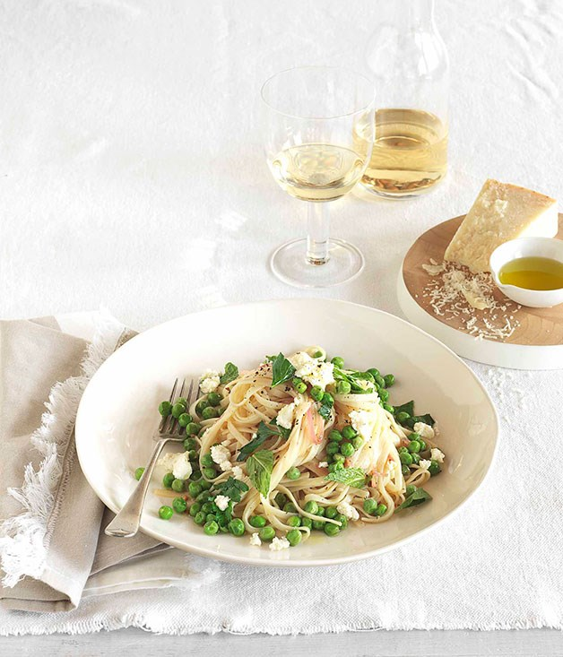 **Spaghettini with peas, lemon and ricotta** **Spaghettini with peas, lemon and ricotta**    [View Recipe](http://www.gourmettraveller.com.au/spaghettini-with-peas-lemon-and-ricotta.htm)     PHOTOGRAPH **JASON LOUCAS**