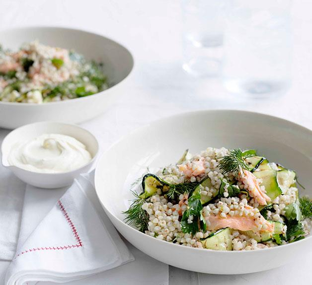 Toasted buckwheat and smoked trout salad