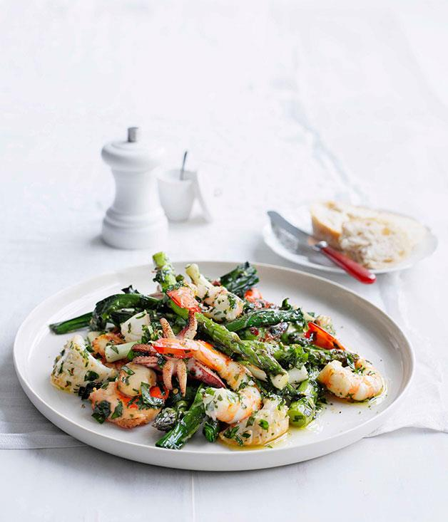 """[**Seafood salad with herb dressing**](https://www.gourmettraveller.com.au/recipes/fast-recipes/seafood-salad-with-herb-dressing-13070