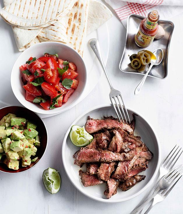 "[**Lime and chilli skirt steak fajitas**](https://www.gourmettraveller.com.au/recipes/fast-recipes/lime-and-chilli-skirt-steak-fajitas-13071|target=""_blank"")"