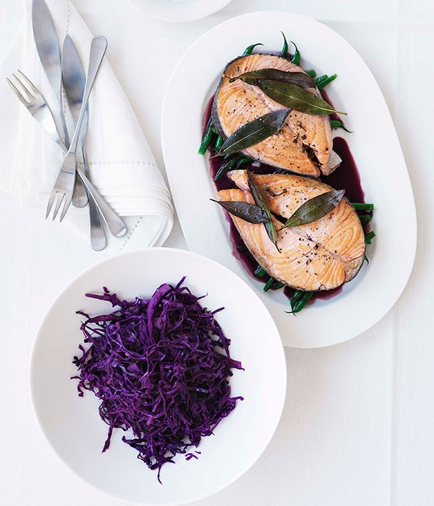 **Salmon with warm red cabbage salad and red wine sauce** **Salmon with warm red cabbage salad and red wine sauce**    [View Recipe](http://gourmettraveller.com.au/salmon-with-warm-red-cabbage-salad-and-red-wine-sauce.htm)     PHOTOGRAPH **WILLIAM MEPPEM**