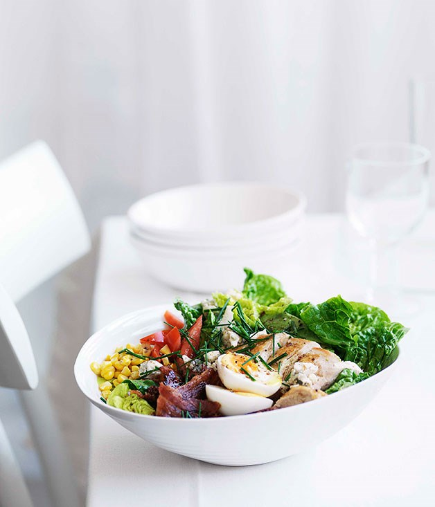 "[**Cobb salad**](https://www.gourmettraveller.com.au/recipes/fast-recipes/cobb-salad-13075|target=""_blank"") <br><br> Chicken, avocado, corn and bacon - comfort food at its best."
