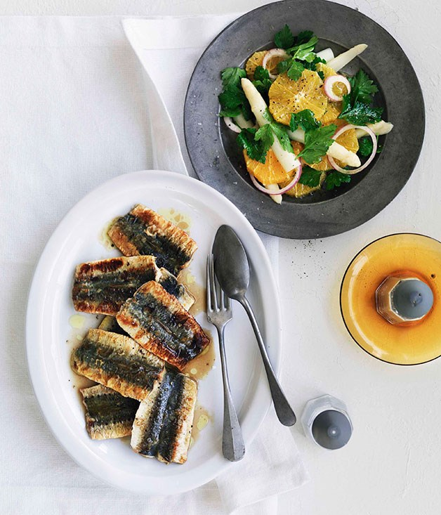 **Sardine escabeche with white asparagus and orange salad** **Sardine escabeche with white asparagus and orange salad**    [View Recipe](http://gourmettraveller.com.au/sardine-escabeche-with-white-asparagus-and-orange-salad.htm)     PHOTOGRAPH **WILLIAM MEPPEM**