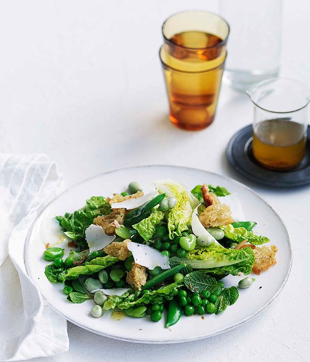 """[**Pea, broad bean and torn bread salad**](https://www.gourmettraveller.com.au/recipes/fast-recipes/pea-broad-bean-and-torn-bread-salad-13080